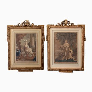 Antique Copper Etchings of Louis XVI and Marie Antoinette, Set of 2