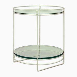 Tavolino in acciaio bianco e vetro, Germania, anni '60