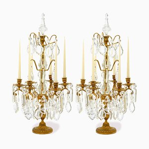 Antike Kerzen-Halter aus Sechsarmigen Ormolu und Kristallglas, 2er Set