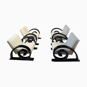 Art Deco Club Chairs in Black Piano Lacquer and Creme-White Fabric, France, 1930s, Set of 4