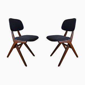 Vintage Teak Scissor Chairs by Louis Van Teeffelen for Webe, 1960s, Set of 2