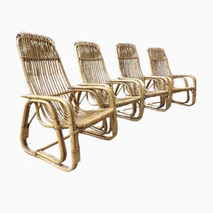 Vintage Bamboo Armchairs, Set of 4