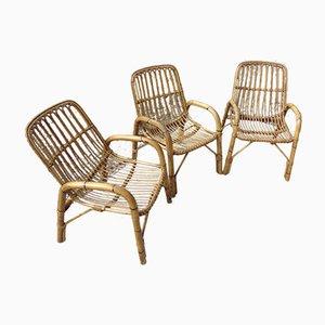 Chaises Vintage en Bambou, Set de 3