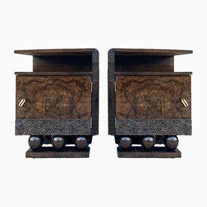 Brutalistische Spanische Mid-Century Nachttische mit Geschnitzter Tür, 2er Set