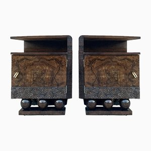 Mid-Century Brutalist Spanish Nightstands with Carved Door and Open Shelf, Set of 2