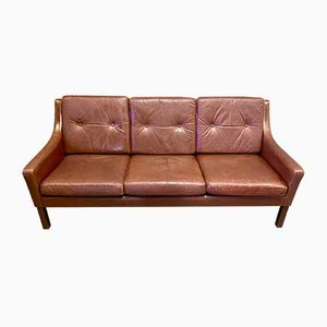 Scandinavian Leather 3-Seater Sofa, 1950s