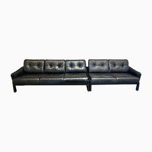 Modulare Sofas aus schwarzem Leder, 1960er, 2er Set