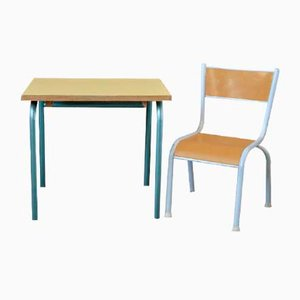 Escritorio infantil vintage con silla, años 50. Juego de 2