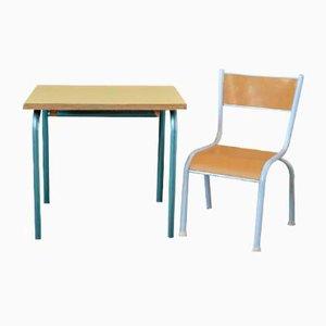Scrivania e sedia da bambino vintage, anni '50, set di 2