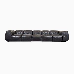 Large Black Leather 7-Piece Modular Sofa by Giuseppe Munari, 1970s