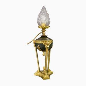 Lampada da tavolo in stile Impero in bronzo e vetro a forma di fiamma, anni '20