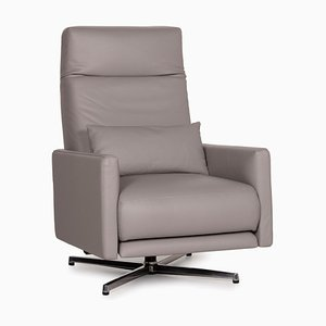 Model 574 Grey Leather Lounge Chair by Rolf Benz