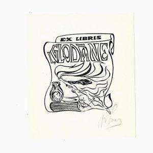 Ex Libris Glodane, Woodcut, Early 20th-Century