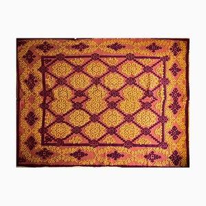 Handgewebter rumänischer handgemachter Teppich in Braun und Gelb