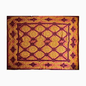 Romanian Brown and Yellow Wool Handwoven Rug
