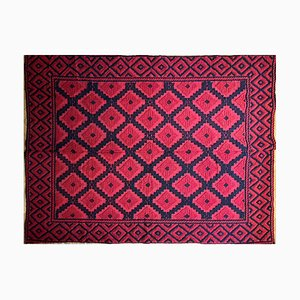 Romanian Hand Woven Red and Black Wool Rug