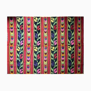 Romanian Wool Rug with Red Background & Colourful Tulips