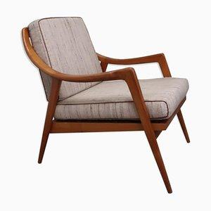 Scandinavian Wood and Fabric Armchair, 1960s