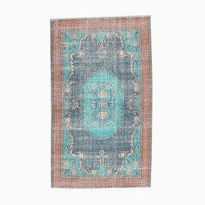 Türkisfarbener Türkischer Handgeknüpfter Vintage Wollteppich