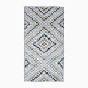 Vintage Turkish Handmade Wool Check Rug