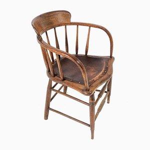 Silla de oficina de roble de madera curvada con asiento de cuero