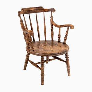 Windsor Armlehnstuhl aus solidem Ulmenholz mit niedriger Rückenlehne