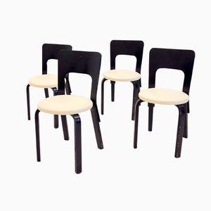 Modell 66 Esszimmerstühle von Alvar Aalto für Artek, 1960er, 4er Set