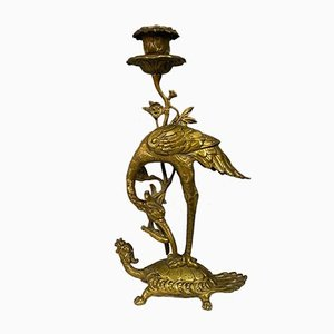 Chinese Gilt Bronze Candlesticks, 1850s, Set of 2