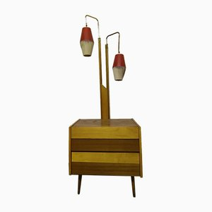 Walnut Cocktail Cabinet Light, 1950s