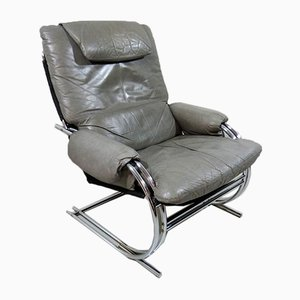 Gray Leather Lounge Chair, 1980s