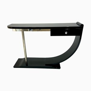 French Art Deco Black Lacquered Console Table / Room Divider, 1930s