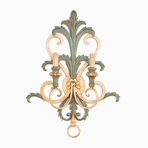 Vintage Green & Gilt Iron Sconce