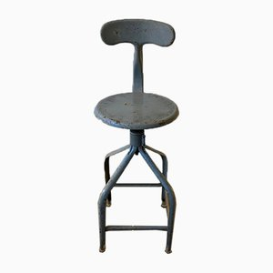 Industrieller höhenverstellbarer grauer Metall Drehstuhl von Nicolle, 1950er