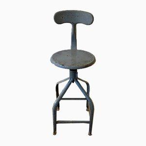 Silla giratoria industrial de altura regulable en gris de Nicolle, años 50