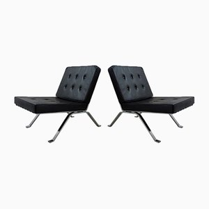 Black Leather Lounge Chairs, 1960s, Set of 2