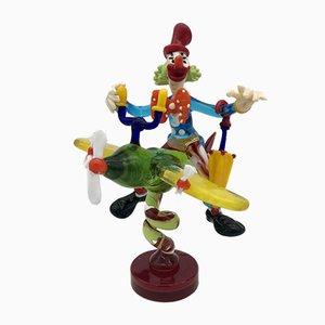 Vintage Clown in Flugzeug Figurine