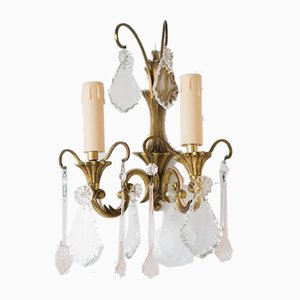 Antique Brass & Crystal Sconces, Set of 2