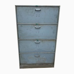 Industrial Metal 4-Door Locker Cabinet / Storage Unit with Pivot Flaps, 1950s