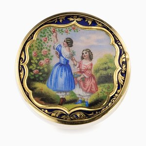 Antique Russian 14k Gold & Enamel Pill Box, 1900s