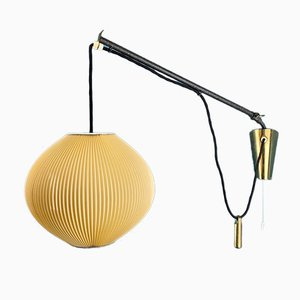 German Extendable Wall Lamp with Counterweight and Beige-Yellow Pleated Shade, 1950s