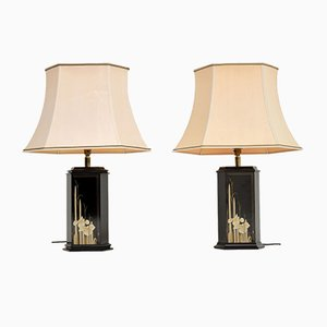 Vintage Lacquered Chinoiserie & Brass Table Lamps, Set of 2