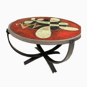 Geometric Glazed Lava Coffee Table by Jean Jaffeux, 1960s