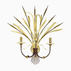French Brass & Steel Bulrush Wall Sconce from Maison Baguès, 1950s