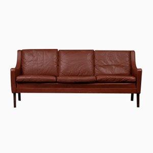 Dänisches 3-Sitzer Sofa aus Braunem Leder