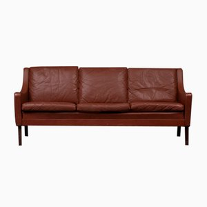 Danish Brown Leather 3-Seat Sofa