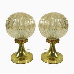 Lampes de Chevet Balle Vintage en Verre Ambré sur Support Tulipe, 1960s, Set de 2