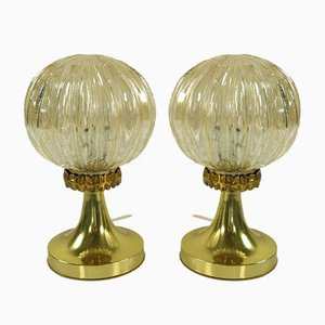 Vintage Amber Glass Ball Bedside Lamps on Tulip Stand, 1960s, Set of 2