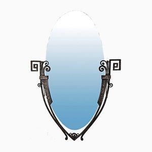 Art Deco Wrought Iron Mirror, 1920s