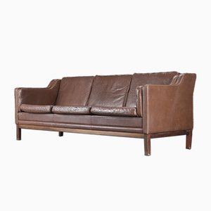 Danish Brown Leather 3-Seat Sofa by Mogens Hansen