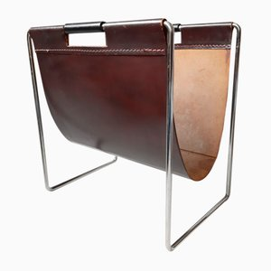 Dutch Leather Magazine Rack from Brabantia, 1970s